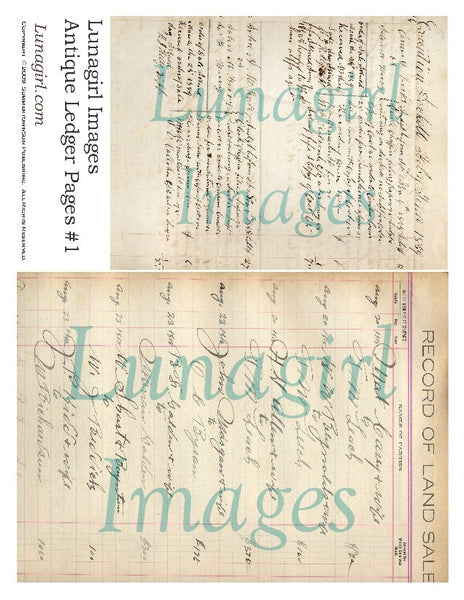 Antique Ledger Pages Digital Collage Sheet - Lunagirl