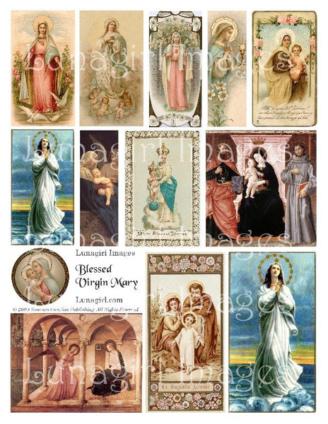 Blessed Virgin Mary Digital Collage Sheet - Lunagirl