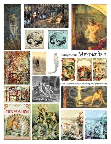 Mermaids #2 Digital Collage Sheet - Lunagirl