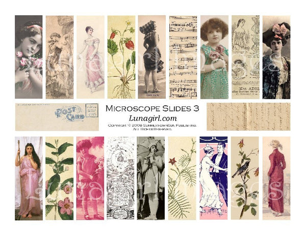 "Microscope Slides #3 : 1x3"" Pendants Digital Collage Sheet - Lunagirl"