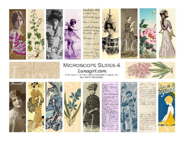 "Microscope Slides #4 : 1x3"" Pendants Digital Collage Sheet - Lunagirl"
