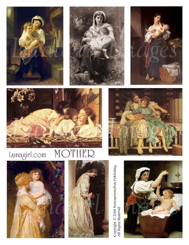 Digital Collage Sheets: Mother, Father, New Baby