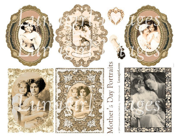 Mother's Day Portraits Digital Collage Sheet - Lunagirl