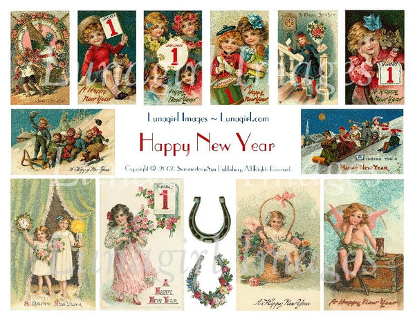 Happy New Year Digital Collage Sheet - Lunagirl
