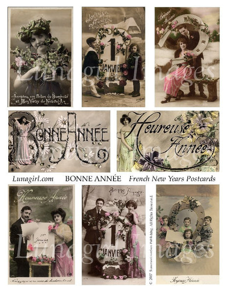 Bonne Annee French New Year Postcards Digital Collage Sheet - Lunagirl