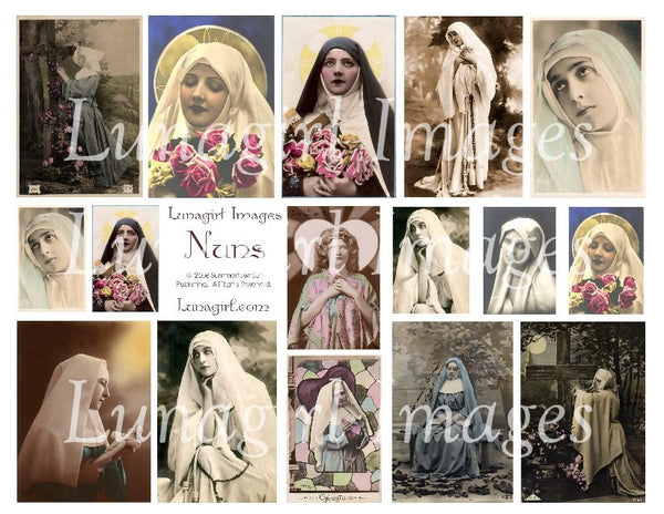 Beautiful Nuns Digital Collage Sheet - Lunagirl