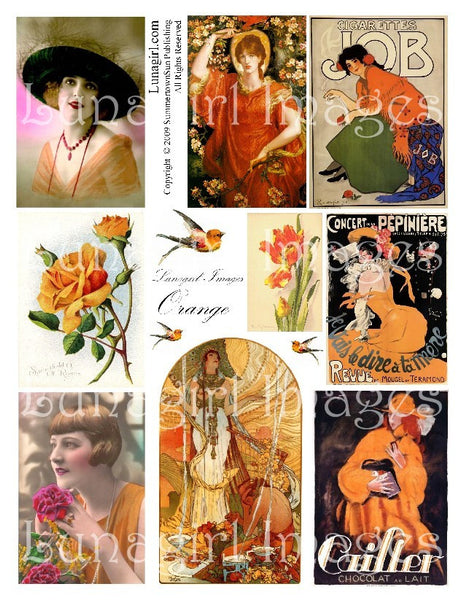 Orange Digital Collage Sheet - Lunagirl