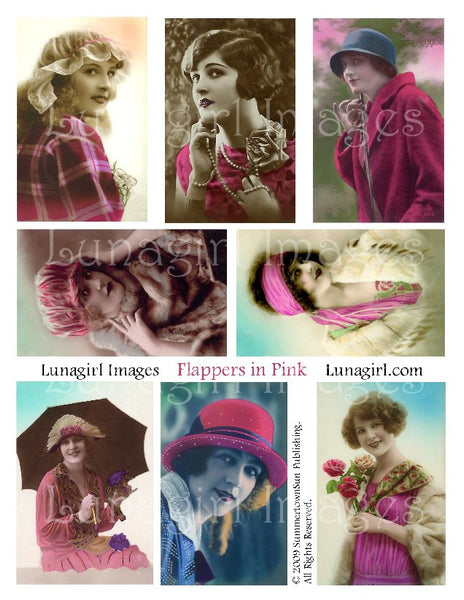 Flappers in Pink Digital Collage Sheet - Lunagirl
