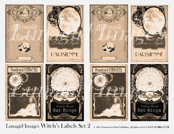 Witch Labels #2 Sepia Digital Collage Sheet - Lunagirl