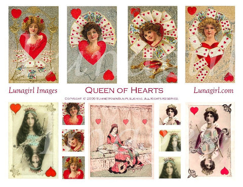 Queen of Hearts Digital Collage Sheet - Lunagirl
