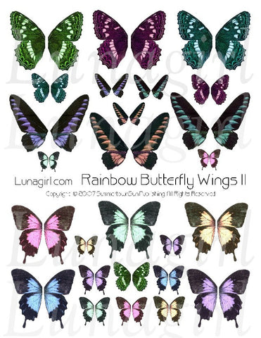 Rainbow Butterfly Wings #2 Digital Collage Sheet - Lunagirl