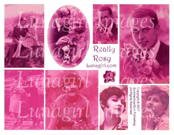 Really Rosy Digital Collage Sheet - Lunagirl