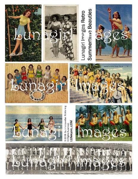 Retro Summertime Beauties Digital Collage Sheet - Lunagirl