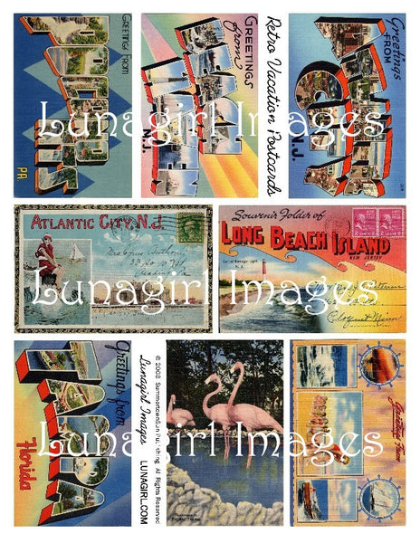 Retro Vacation Postcards Digital Collage Sheet - Lunagirl