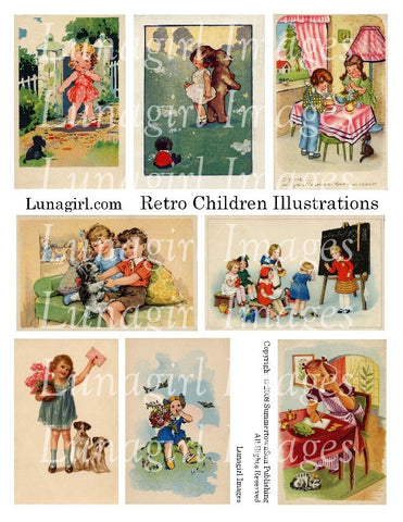 Retro Children Illustrations Digital Collage Sheet - Lunagirl