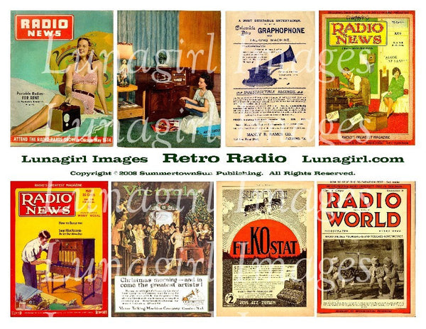 Retro Radio Digital Collage Sheet - Lunagirl