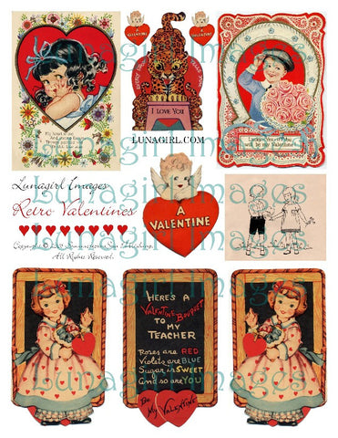 Retro Valentines Digital Collage Sheet - Lunagirl