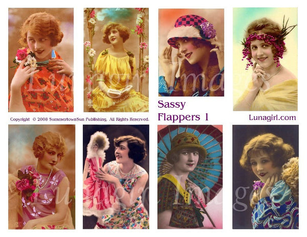 Sassy Flappers #1 Digital Collage Sheet - Lunagirl