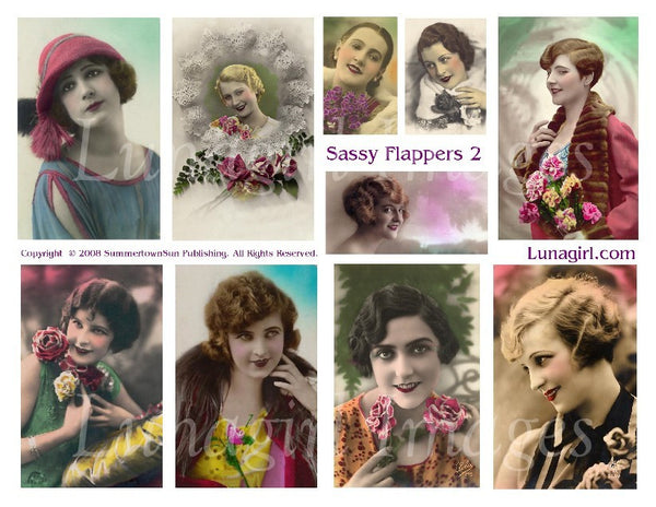 Sassy Flappers #2 Digital Collage Sheet - Lunagirl