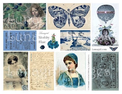 Shabby Blue Digital Collage Sheet - Lunagirl
