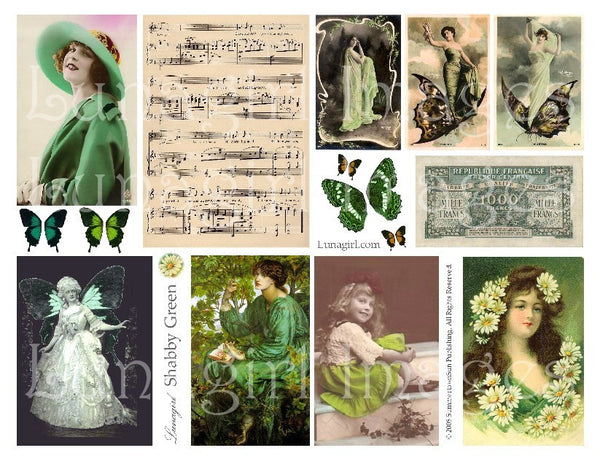 Shabby Green Digital Collage Sheet - Lunagirl