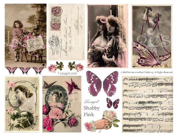 Shabby Pink Digital Collage Sheet - Lunagirl