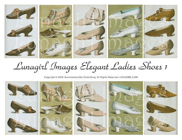 Elegant Ladies Shoes #1 Digital Collage Sheet - Lunagirl