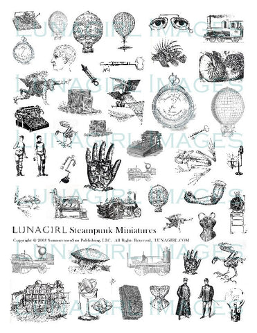 Steampunk #1 Miniatures Digital Collage Sheet - Lunagirl