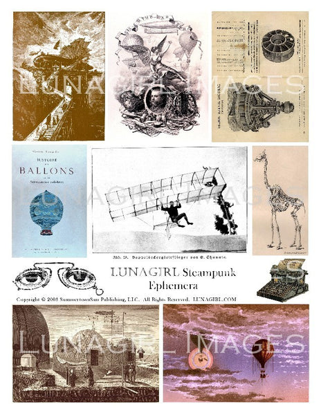 Steampunk Ephemera Digital Collage Sheet - Lunagirl