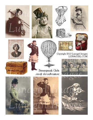 Steampunk Girls: Ready for Adventure Digital Collage Sheet - Lunagirl