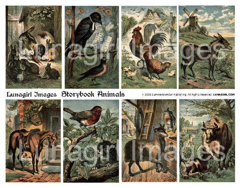 Storybook Animals Digital Collage Sheet - Lunagirl