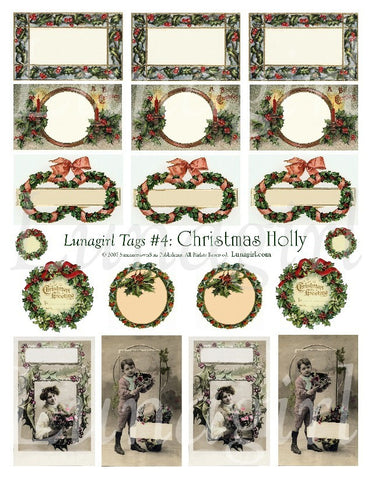 Tags: Christmas Holly Digital Collage Sheet - Lunagirl