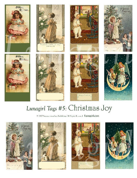 Tags: Christmas Joy Digital Collage Sheet - Lunagirl