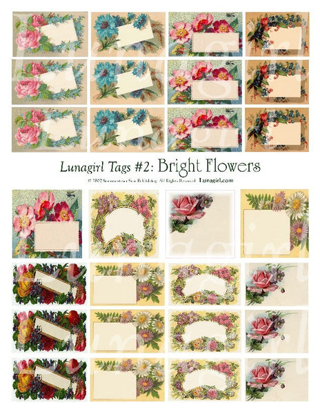 Tags: Bright Flowers Digital Collage Sheet - Lunagirl