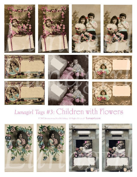 Tags: Children with Flowers Digital Collage Sheet - Lunagirl