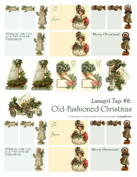 Tags: Old Fashioned Christmas Digital Collage Sheet - Lunagirl