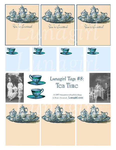 Tags: Tea Time Digital Collage Sheet - Lunagirl