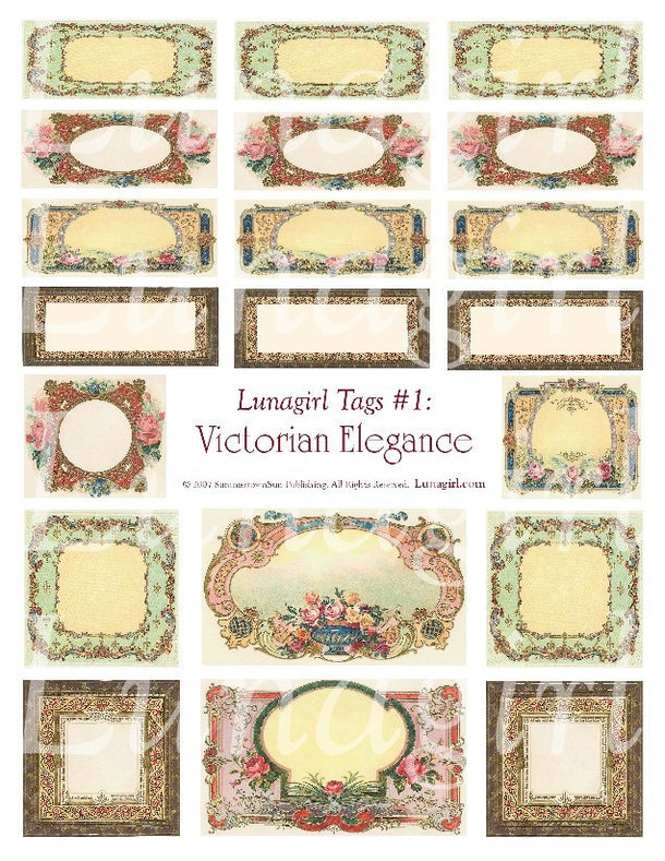 Digital Collage Sheets: Tags Labels & Frames
