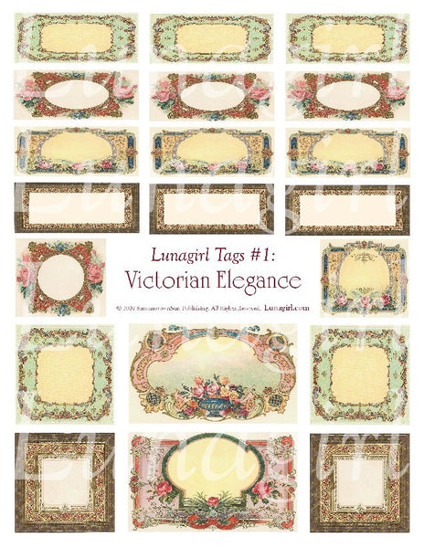 Tags: Victorian Elegance Digital Collage Sheet - Lunagirl