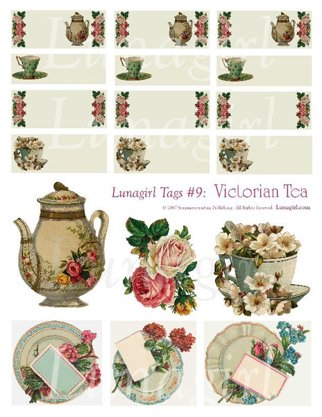 Tags: Victorian Tea Digital Collage Sheet - Lunagirl