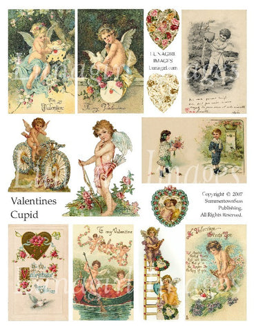 Valentines Cupid Digital Collage Sheet - Lunagirl