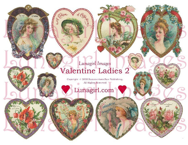 Valentine Ladies #2 Digital Collage Sheet - Lunagirl