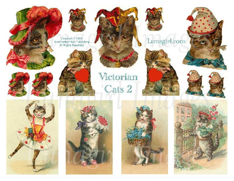Victorian Cats #2 Digital Collage Sheet - Lunagirl