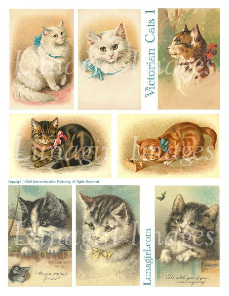 Victorian Cats #1 Digital Collage Sheet - Lunagirl