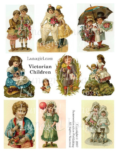 Victorian Children Digital Collage Sheet - Lunagirl