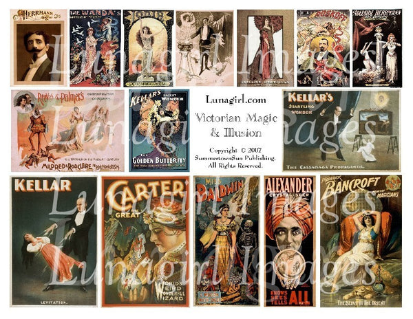 Victorian Magic & Illusion Digital Collage Sheet - Lunagirl