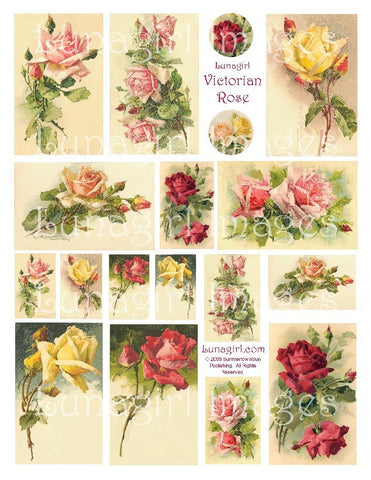 Victorian Rose Digital Collage Sheet - Lunagirl
