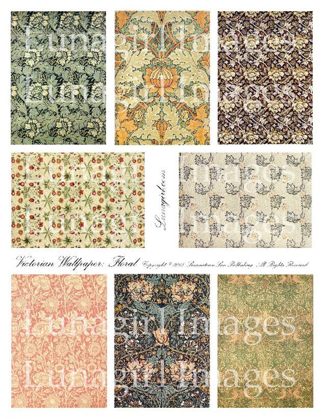 Victorian Wallpaper: Floral Digital Collage Sheet - Lunagirl