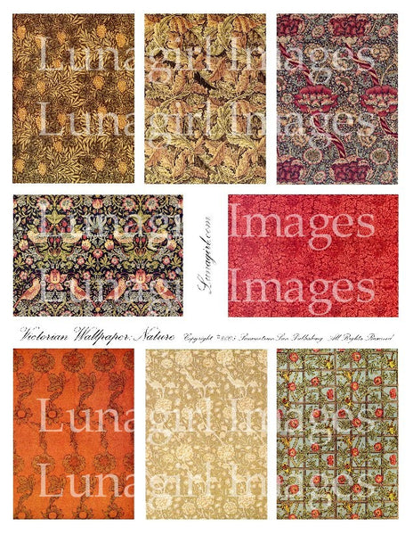 Victorian Wallpaper: Nature Digital Collage Sheet - Lunagirl