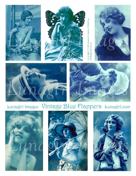 vintage images collage sheet French postcards tinted blue flappers girls women digital download
